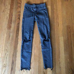 Zara High Wasited Dark Gray Skinny Jean